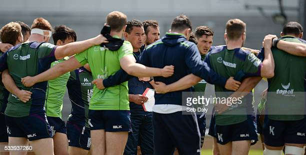 Galway Ireland 24 May 2016 Connacht head coach Pat Lam talks to his players during squad training at the Sportsground Galway