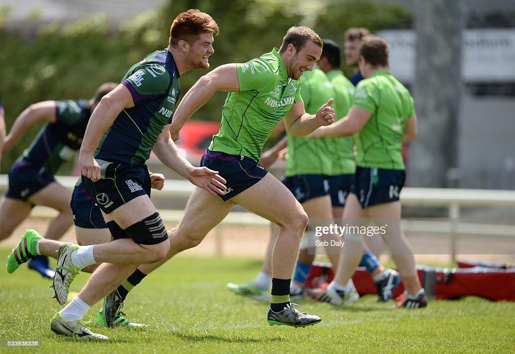 Galway , Ireland - 24 May 2016; Sean O'Brien, left, and Ciaran Gaffney of Connacht during squad training at the Sportsground, Galway.