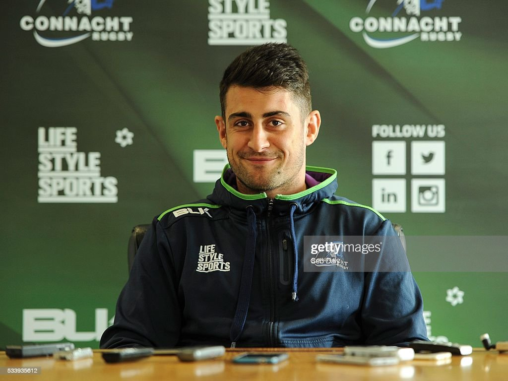 Galway , Ireland - 24 May 2016; Tiernan O'Halloran of Connacht speaking during a press conference at the Sportsground, Galway.
