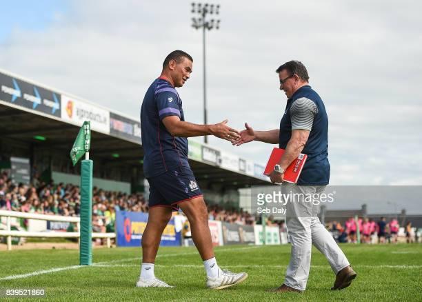 Galway Ireland 26 August 2017 Bristol head coach Pat Lam left and Connacht head coach Kieran Keane shake hands during the Preseason Friendly match...
