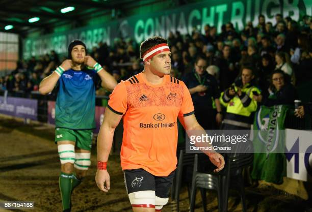 Galway Ireland 27 October 2017 CJ Stander of Munster and Ultan Dillane of Connacht make their way out for the Guinness PRO14 Round 7 match between...