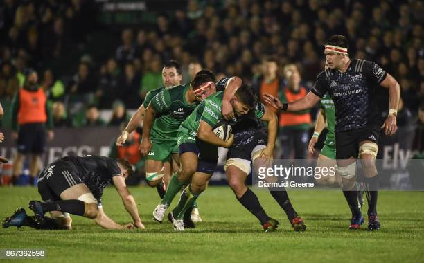 Galway Ireland 27 October 2017 Dave Heffernan of Connacht is tackled by Jack ODonoghue CJ Stander and Billy Holland of Munster during the Guinness...