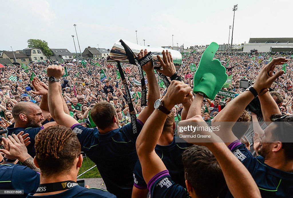 Galway , Ireland - 29 May 2016; Connacht players celebrate with the trophy during the Connacht rugby homecoming after their Guinness Pro12 League Final victory in The Sportsground, Galway.