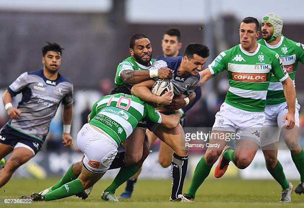 Galway Ireland 3 December 2016 Cian Kelleher of Connacht is tackled by Ian McKinley left and Michael Tagicakibau of Treviso during the Guinness PRO12...