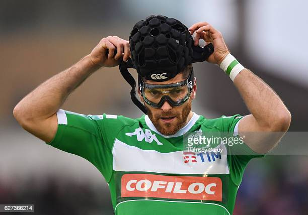 Galway Ireland 3 December 2016 Ian McKinley of Treviso puts on his protective goggles and head guard during the Guinness PRO12 Round 10 match between...