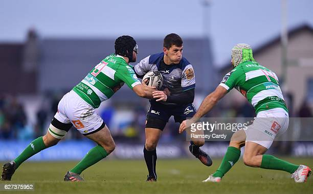 Galway Ireland 3 December 2016 Marnitz Boshoff of Connacht is tackled by Ian McKinley supported by Angelo Esposito of Treviso during the Guinness...