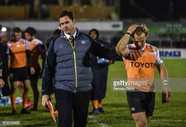 Galway Ireland 4 November 2017 Cheetahs head coach Rory Duncan and Fred Zeilinga following the Guinness PRO14 Round 8 match between Connacht and...