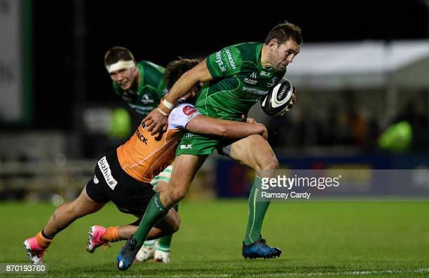 Galway Ireland 4 November 2017 Craig Ronaldson of Connacht is tackled by Nico Lee of Cheetahs during the Guinness PRO14 Round 8 match between...