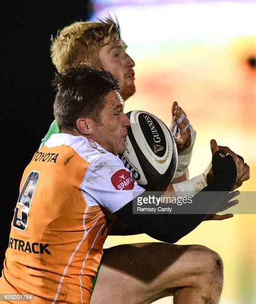 Galway Ireland 4 November 2017 Darragh Leader of Connacht in action against Tian Meyer of Cheetahs during the Guinness PRO14 Round 8 match between...