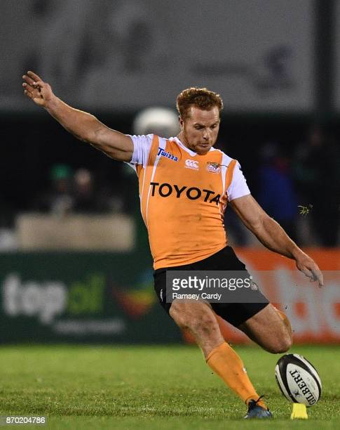 Galway Ireland 4 November 2017 Ernst Stapelberg of Cheetahs kicks a penalty during the Guinness PRO14 Round 8 match between Connacht and Cheetahs at...