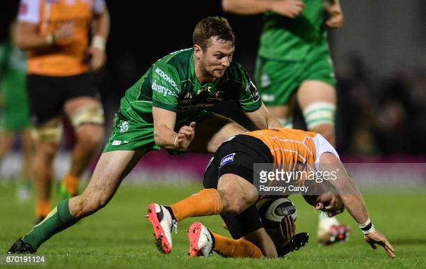 Galway Ireland 4 November 2017 Fred Zeilinga of Cheetahs is tackled by Jack Carty of Connacht during the Guinness PRO14 Round 8 match between...