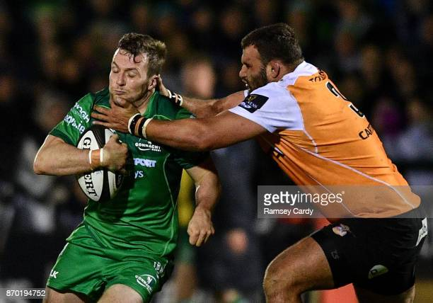 Galway Ireland 4 November 2017 Jack Carty of Connacht is tackled by Johan Coetzee of Cheetahs during the Guinness PRO14 Round 8 match between...
