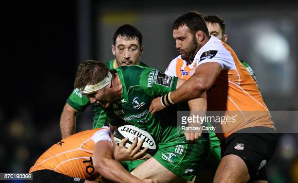 Galway Ireland 4 November 2017 James Cannon of Connacht is tackled by Paul Schoeman of Cheetahs during the Guinness PRO14 Round 8 match between...