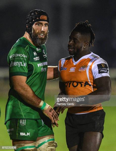 Galway Ireland 4 November 2017 John Muldoon of Connacht and Luther Obi of Cheetahs following the Guinness PRO14 Round 8 match between Connacht and...