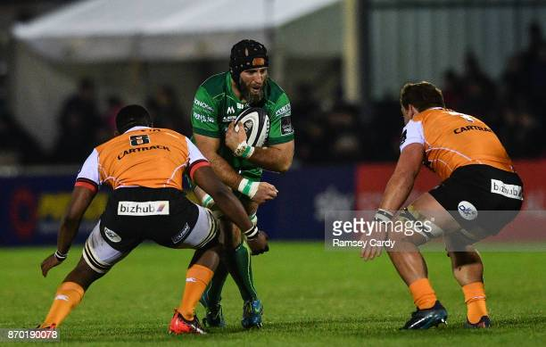 Galway Ireland 4 November 2017 John Muldoon of Connacht in action against Junior Pokomela left and Jasper Wiese of Cheetahs during the Guinness PRO14...