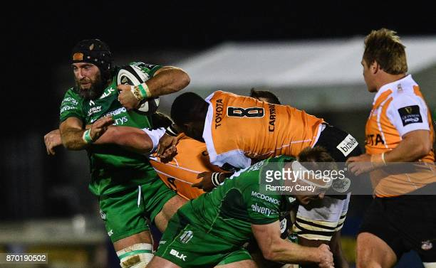 Galway Ireland 4 November 2017 John Muldoon of Connacht is tackled by Junior Pokomela of Cheetahs during the Guinness PRO14 Round 8 match between...