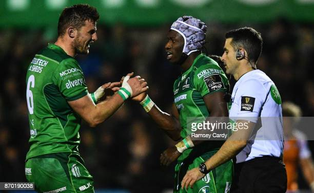 Galway Ireland 4 November 2017 Niyi Adeolokun of Connacht celebrates with teammate Eoghan Masterson left after scoring his side's first try during...