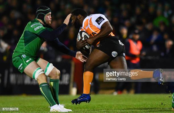 Galway Ireland 4 November 2017 Ox Nche of Cheetahs is tackled by Eoin McKeon of Connacht during the Guinness PRO14 Round 8 match between Connacht and...