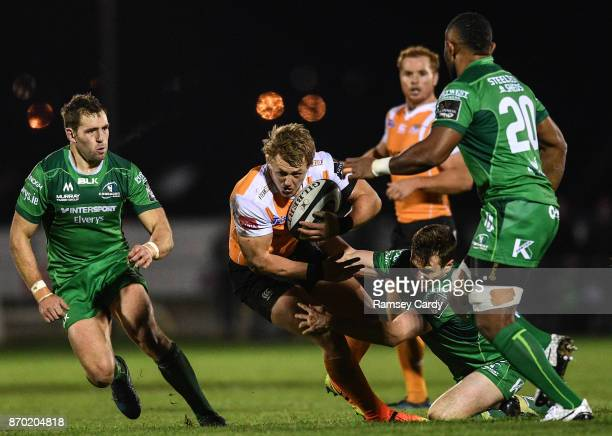 Galway Ireland 4 November 2017 Tertius Kruger of Cheetahs is tackled by Jack Carty of Connacht during the Guinness PRO14 Round 8 match between...