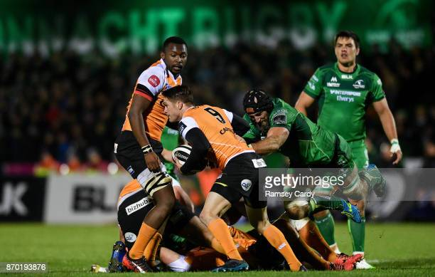 Galway Ireland 4 November 2017 Tian Meyer of Cheetahs is tackled by John Muldoon of Connacht during the Guinness PRO14 Round 8 match between Connacht...
