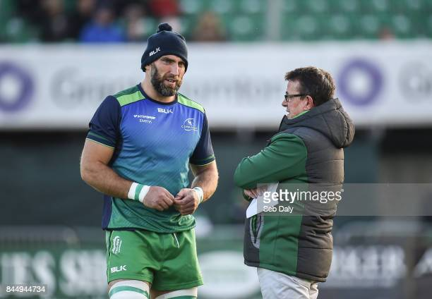 Galway Ireland 9 September 2017 Connacht head coach Kieran Keane right and captain John Muldoon prior to the Guinness PRO14 Round 2 match between...