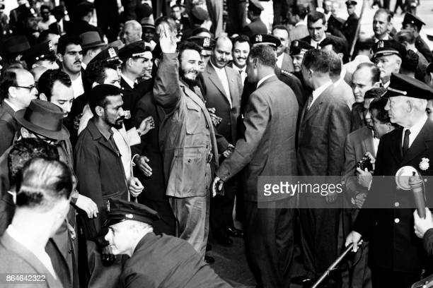 Gamal Abdel Nasser is greeted by Prime Minister of Cuba Fidel Castro at his arrival at the United Nations Security Council in September 1960 in...