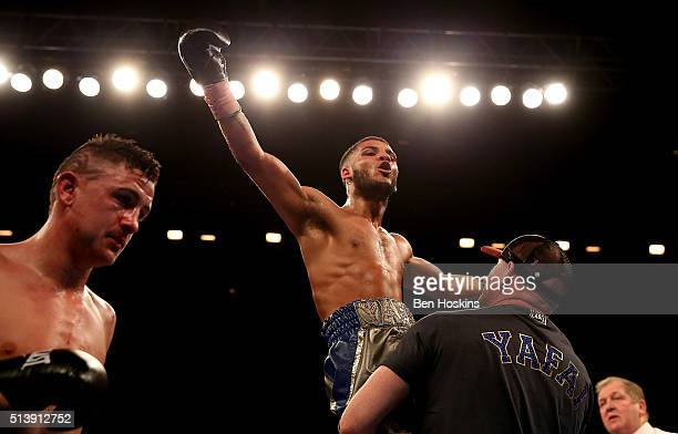 Gamal Yafai of Great Britain celebrates after defeating Bobby Jenkinson of Great Britain in their Commonwealth SuperBantamweight Championship contest...