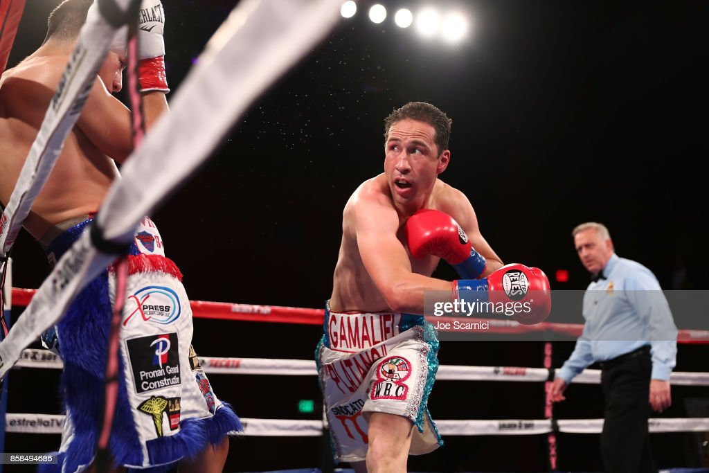 Gamaliel Diaz throws a punch at Christian Gonzalez in the sixth round during their Super Lightweight fight at Belasco Theatre on October 6, 2017 in Los Angeles, California.
