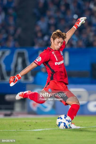 Gamba Osaka goalkeeper Higashiguchi Masaaki in action during the 2015 AFC Champions League Semi Final 2nd Leg matches between Gamba Osaka and...