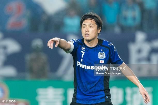 Gamba Osaka Midfielder Endo Yasuhito gestures during the AFC Champions League 2017 Group H match between Jiangsu FC vs vs Gamba Osaka at the Nanjing...