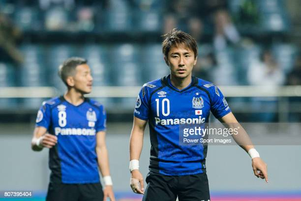 Gamba Osaka Midfielder Kurata Shu gestures during the AFC Champions League 2017 Group H match Between Jeju United FC vs Gamba Osaka at the Jeju World...