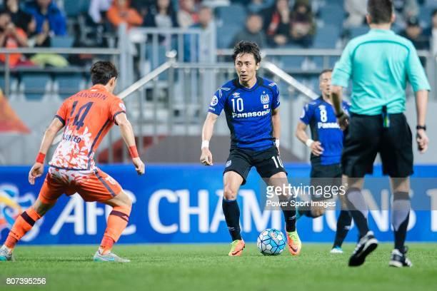 Gamba Osaka Midfielder Kurata Shu in action during the AFC Champions League 2017 Group H match Between Jeju United FC vs Gamba Osaka at the Jeju...