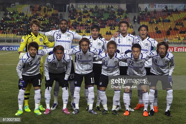 Gamba Osaka players line up during the AFC Champions League Group G match between Suwon Samsung Bluewings FC and Gamba Osaka at Suwon World Cup...