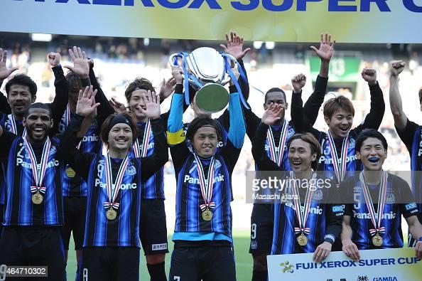 Gamba Osakawinner of FUJI XEROX Super cup 2015 after the FUJI XEROX SUPER CUP 2015 match between Gamba Osaka and Urawa Red Diamonds at Nissan Stadium...