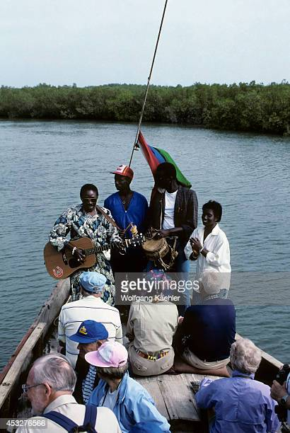 Gambia Gambia River Delta Mangrove Swamps Tourist On Boat Excursions