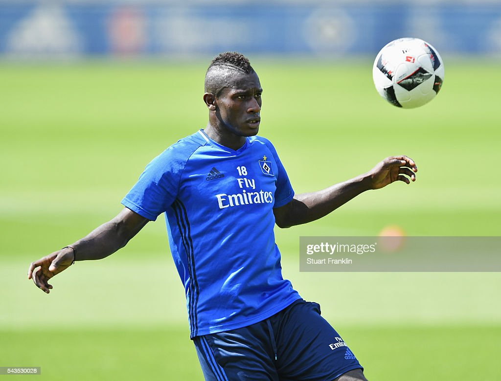 Gambian refugee Bakery Jatta in action during the first training session of Hamburger SV after the summer break on June 29, 2016 in Hamburg, Germany.
