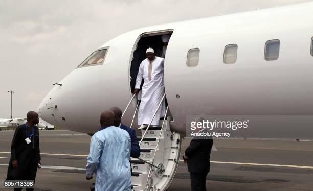 Gambia's President Adama Barrow arrives at Bole International Airport ahead of the 29th African Union Summit in Addis Ababa Ethiopia on July 2 2017