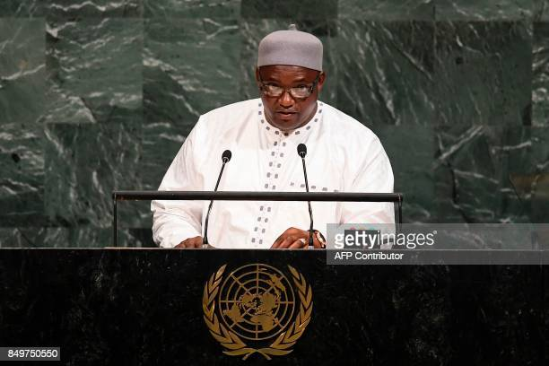Gambia's President Adama Barrow the addresses the 72nd session of the United Nations General Assembly at the UN headquarters in New York on September...