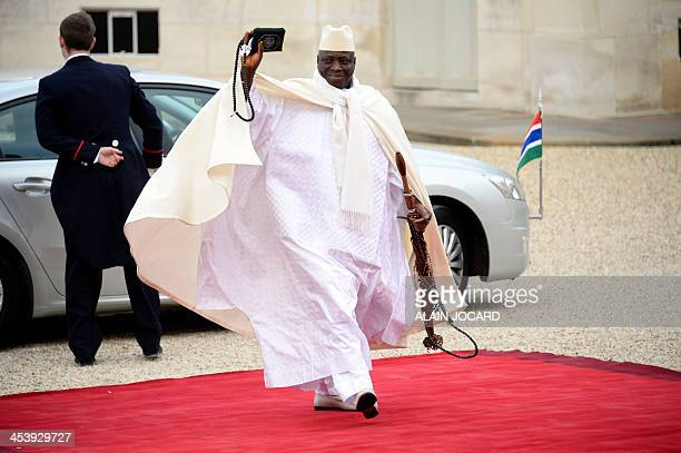 Gambia's President Yahya Jammeh arrives at the Elysee palace to participate in the Elysee summit for peace and safety in Africa on December 6 2013 in...