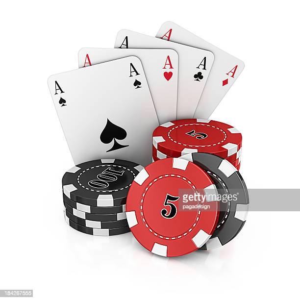 gambling chips and aces cards