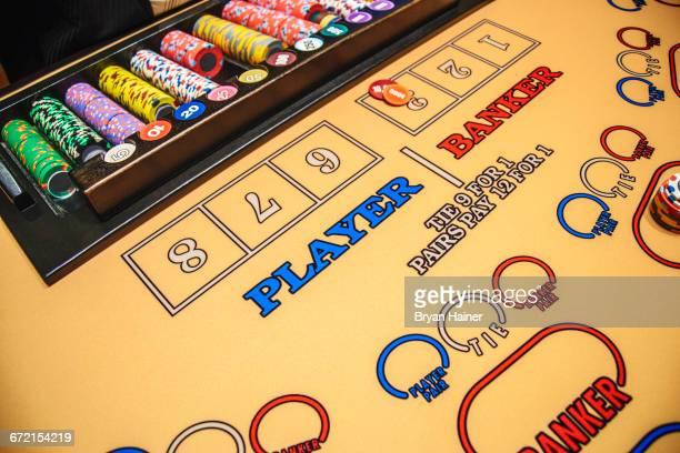 Gambling chips at baccarat table