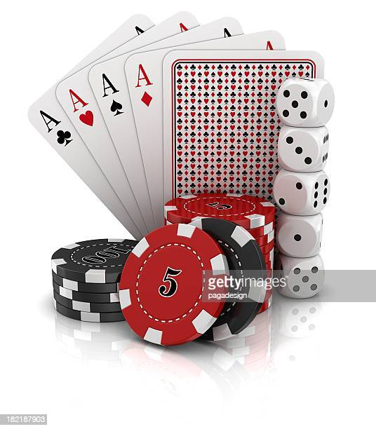 gambling on white background