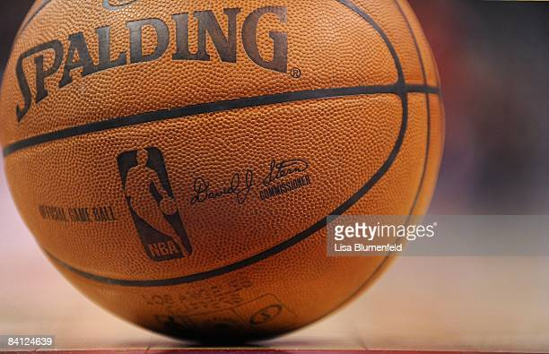 A game ball sits on the floor during the game between the Los Angeles Clippers and the Toronto Raptors at Staples Center on December 22 2008 in Los...