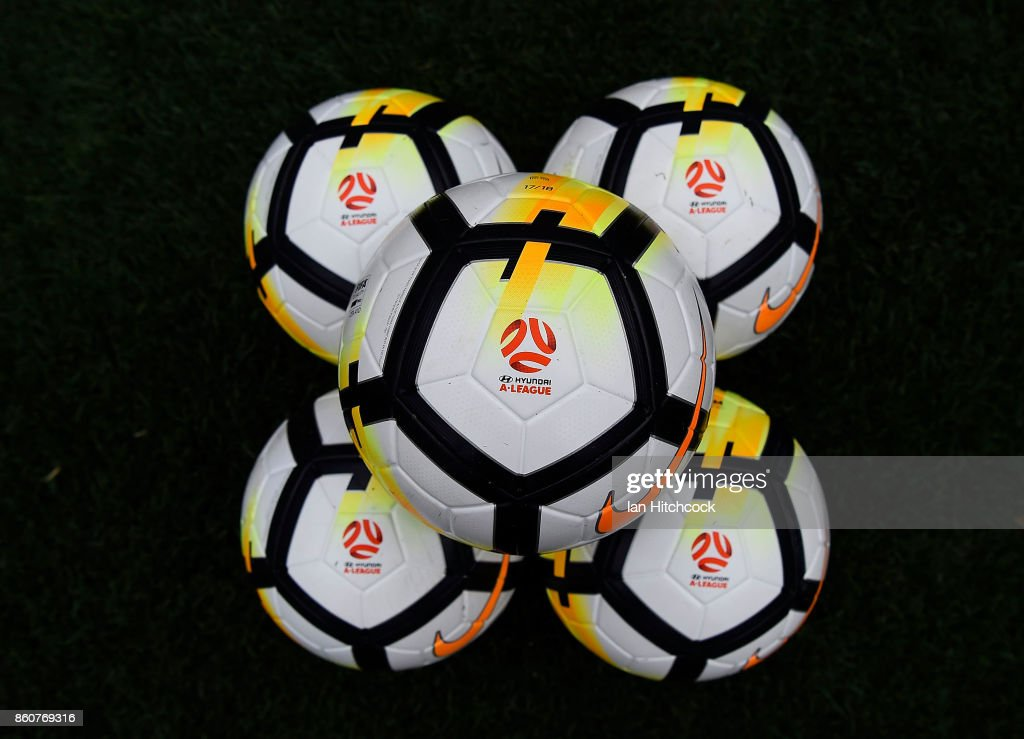 Game balls are seen on the field before the start of the during the round two A-League match between the Brisbane Roar and Adelaide United at Suncorp Stadium on October 13, 2017 in Brisbane, Australia.