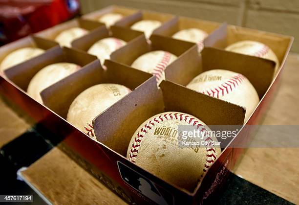 Game balls with the World Series logo freshly rubbed with Delaware River mud await Game 1 of the World Series as the Kansas City Royals play host to...