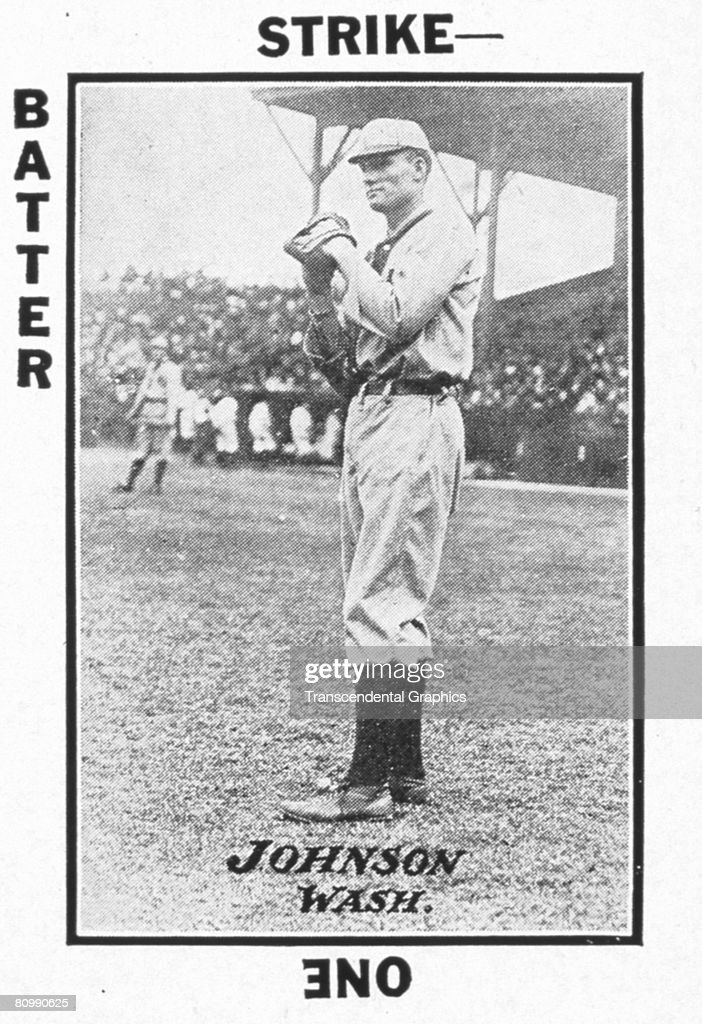 A game card from the Tom Barker Game card collection shows American baseball pitcher Walter Johnson 1913 Johnson pitched for the Washington Nationals...