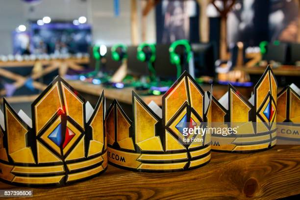 Game crowns seen at the Gamescom 2017 gaming trade fair on August 22 2017 in Cologne Germany Gamescom is the world's largest digital gaming trade...