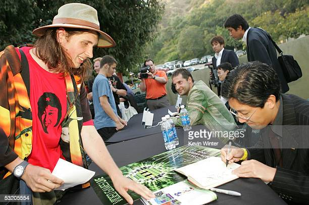 Game desinger of 'Metal Gear Solid' Hideo Kojima signs autographs at Video Games Live at the Hollywood Bowl on July 6 2005 in Hollywood California