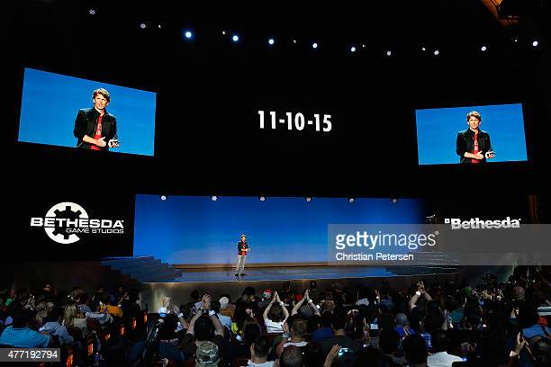 Game Director and Executive Producer at Bethesda Game Studios Todd Howard announces the 111015 release date of 'Fallout 4' during the Bethesda E3...