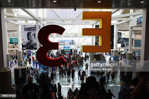 Game enthusiasts and industry attend the Electronic Entertainment Expo E3 at the Los Angeles Convention Center on June 13 2017 in Los Angeles...